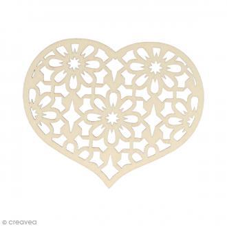 Silhouette Coeur fleur en bois 8,5 x 7 cm - 3 pcs