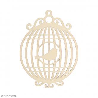Silhouette Cage oiseau en bois 10 x 7,5 cm - 3 pcs
