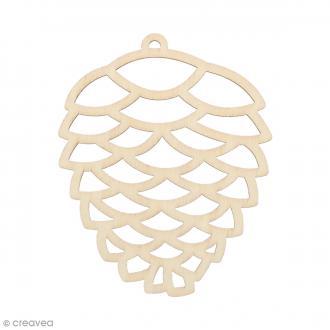 Silhouette Pomme de pin en bois 8 x 6,5 cm - 3 pcs