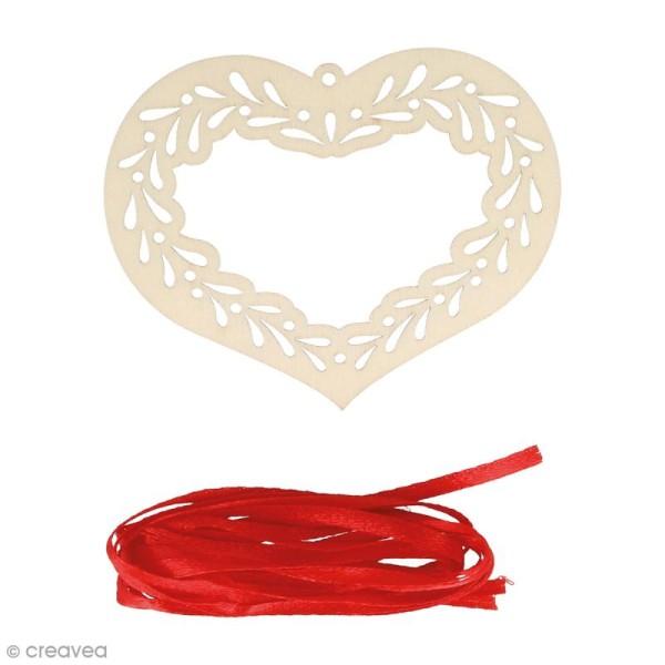 Silhouette Coeur en bois 9 x 7 cm avec ruban - 3 pcs - Photo n°1