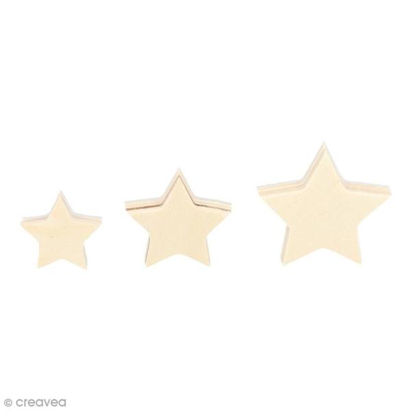 Formes en bois à décorer - Etoiles de 2 à 4 cm - 30 pcs - Photo n°1