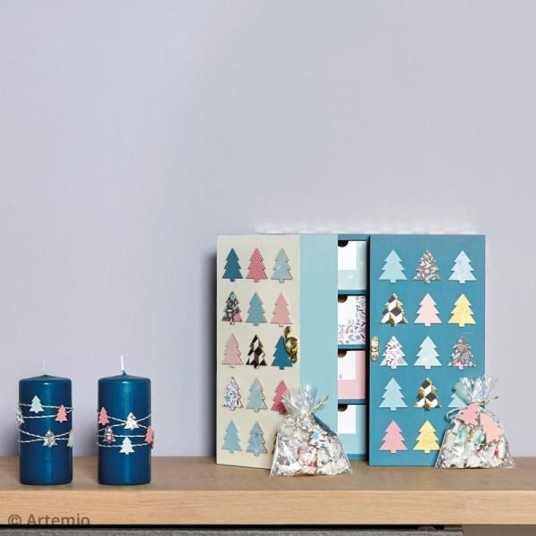 Calendrier de l'avent en bois à décorer - Armoire à tiroirs - 55,5 x 27,5 cm - Photo n°2