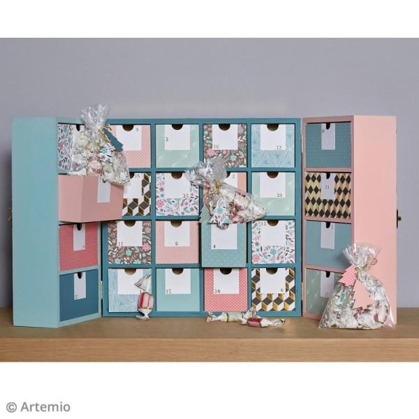 Calendrier de l'avent en bois à décorer - Armoire à tiroirs - 55,5 x 27,5 cm - Photo n°3
