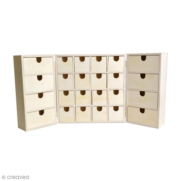Calendrier de l'avent en bois à décorer - Armoire à tiroirs - 55,5 x 27,5 cm - Photo n°1
