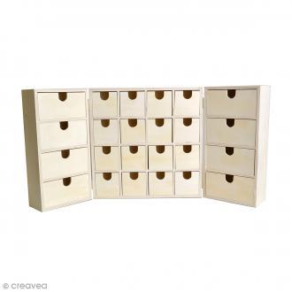 Calendrier de l'avent en bois à décorer - Armoire à tiroirs - 55,5 x 27,5 cm