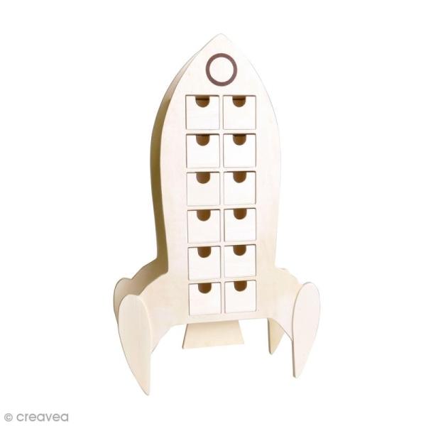 Calendrier de l'avent en bois à décorer - Fusée - 51 x 30 cm - Photo n°1