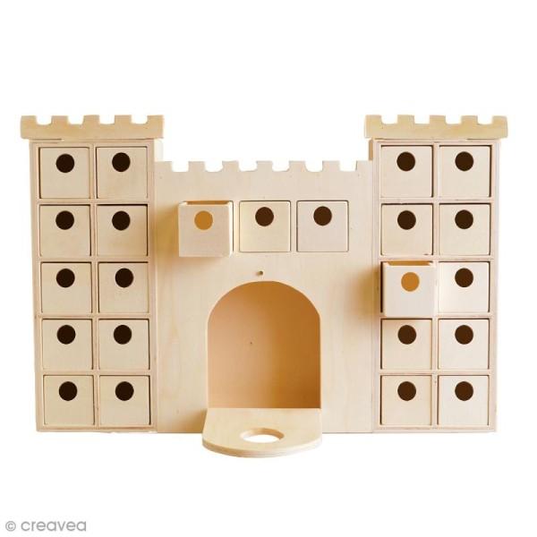Calendrier de l'avent en bois à décorer - Château - 42 x 27 cm - Photo n°1