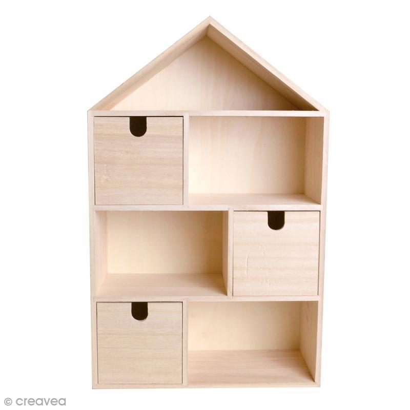 Maison tiroirs et compartiments en bois 48 x 30 5 cm meuble d corer creavea - Maison a decorer ...