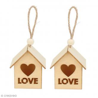 Nichoirs Love - 6 x 5 cm - 2 pcs