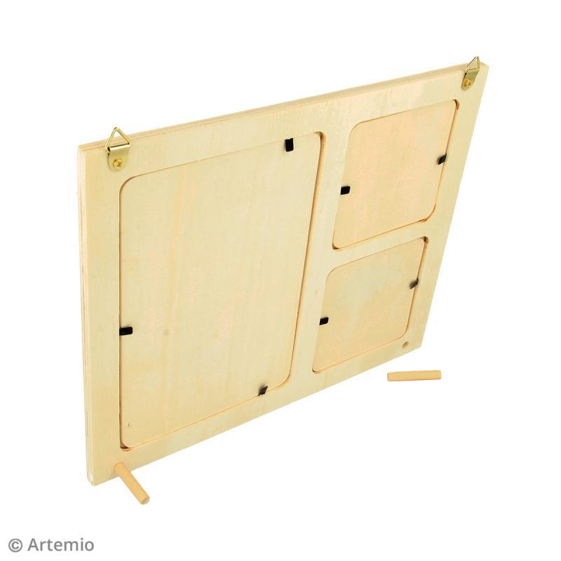 Cadre en bois 3 vues - 22 x 18 cm - Photo n°2
