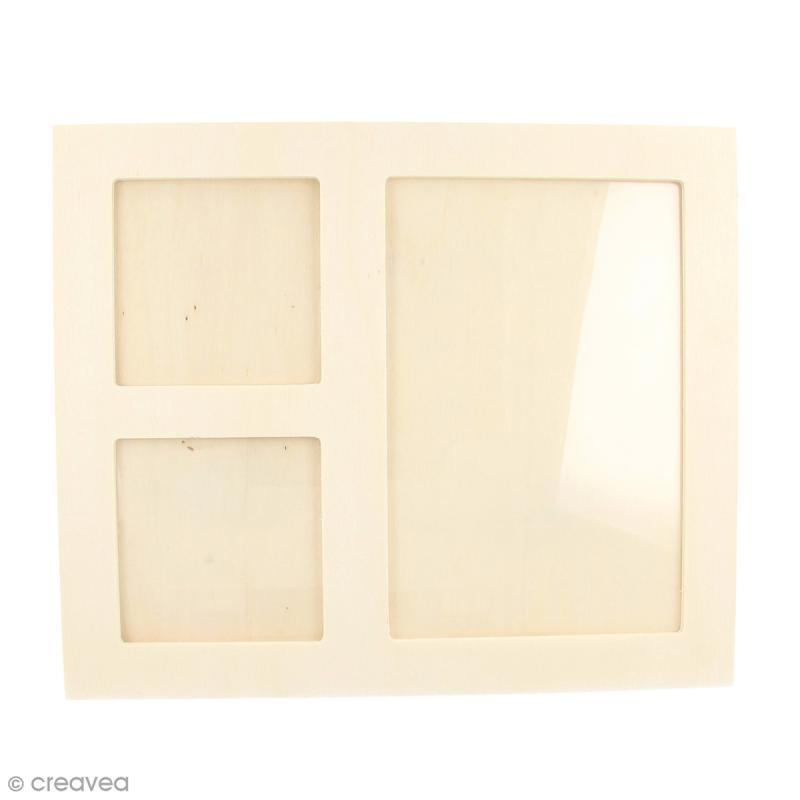 Cadre en bois 3 vues - 22 x 18 cm - Photo n°1