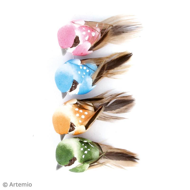 Oiseaux décoratifs de 4 cm - 4 pcs - Photo n°2
