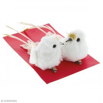 Oiseaux Blancs et dorés 11 cm - 2 pcs