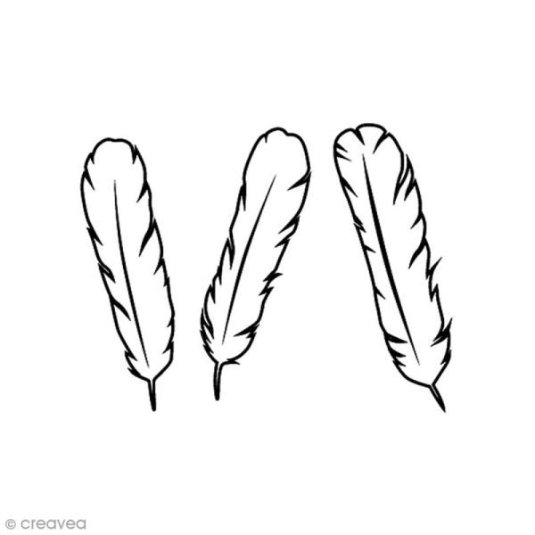 Tampon Bois - Trio plumes - 4,4 x 3,4 cm - Photo n°1