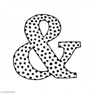 Tampon Bois - Esperluette à pois - 3,7 x 3,4 cm