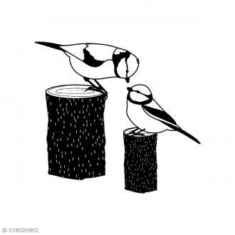 Tampon Bois - Oiseaux sur tronc - 6 x 6 cm