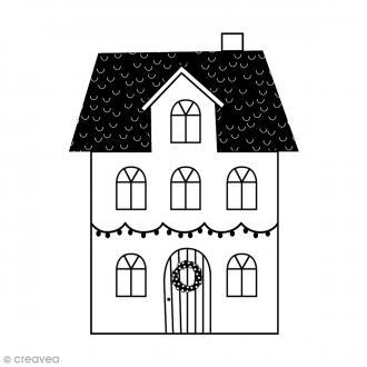 Tampon Bois - Maison couronne - 7 x 6 cm