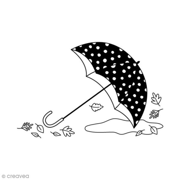 Tampon Bois - Paprapluie feuille - 5,3 x 3,7 cm - Photo n°1