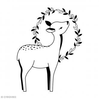 Tampon Bois - Biche couronne - 5,6 x 4,4 cm