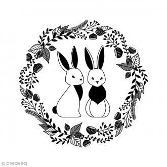 Tampon Bois - Lapins couronne - 6 x 6 cm