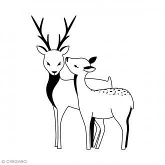 Tampon Bois - Cerf et biche - 7 x 6 cm