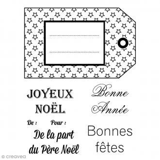 Tampons clear transparents - Etiquettes Noël - 7 pcs