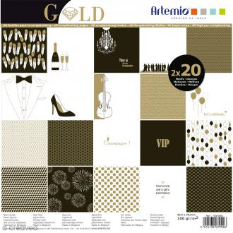 Papier scrapbooking - Gold - 30,5 x 30,5 cm - 40 feuilles