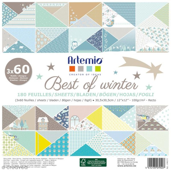 Papier scrapbooking - Best of winter - 30,5 x 30,5 cm - 180 feuilles - Photo n°1
