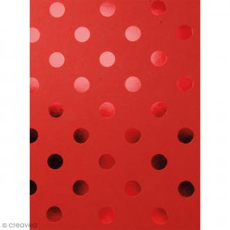 Papier scrapbooking Bazzill Foil - Rouge à Pois métallisés - 30 x 30 cm
