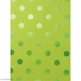 Papier scrapbooking Bazzill Foil - Easter grass (Vert pelouse) à Pois métallisés - 30 x 30 cm