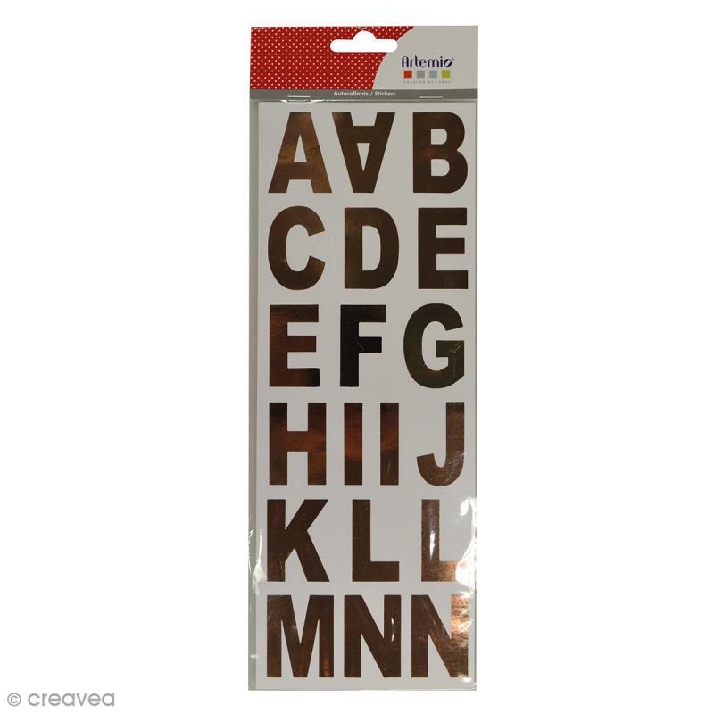 Stickers Alphabet - Cuivré - 37 lettres - Photo n°1