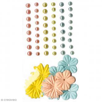 Fleurs en papier et perles autocollantes - Pastel - 75 pcs