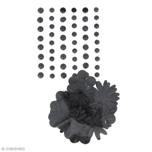 Fleurs en papier et perles autocollantes - Noir - 75 pcs - Photo n°1