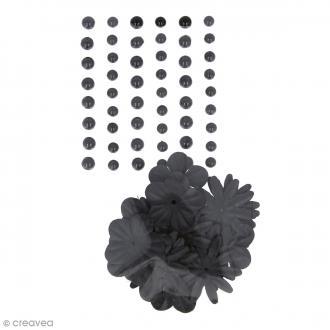 Fleurs en papier et perles autocollantes - Noir - 75 pcs