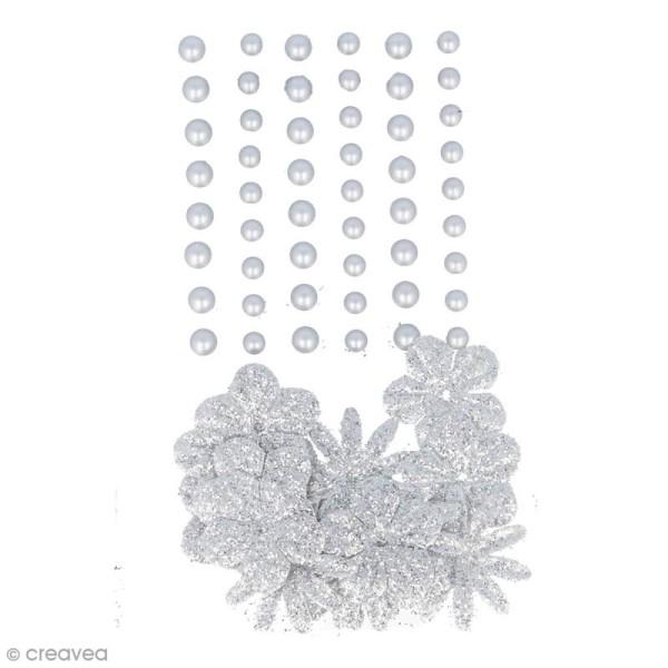 Fleurs en papier et perles autocollantes - Argenté - 75 pcs - Photo n°1