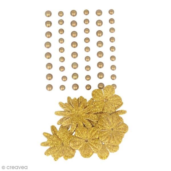 Fleurs en papier et perles autocollantes - Doré - 75 pcs - Photo n°1