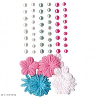 Fleurs en papier et perles autocollantes - Fashion - 75 pcs