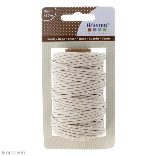 Corde blanchie - Beige - 2 mm x 30 m - Photo n°1