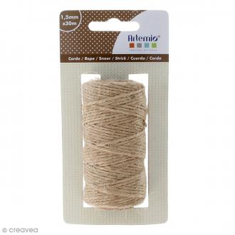 Corde naturelle - Marron clair - 1,5 mm x 30 m