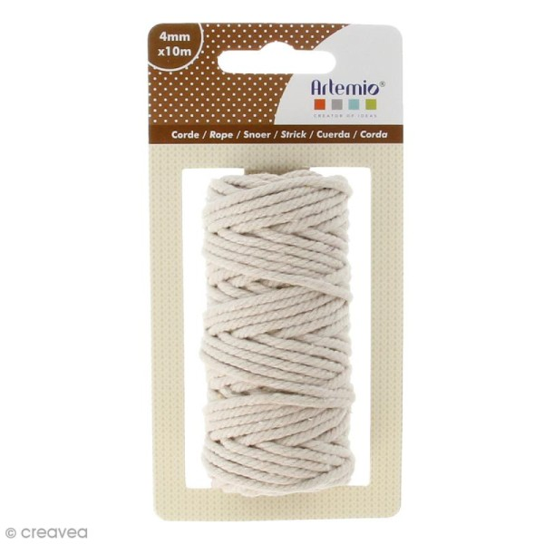 Corde naturelle - Beige - 4 mm x 10 m - Photo n°1