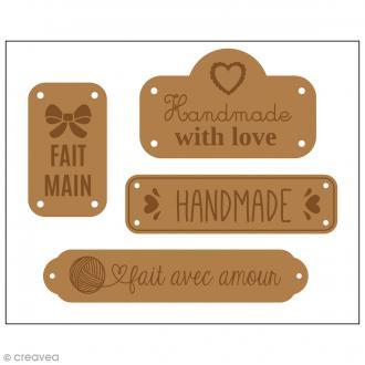 Etiquettes en cuir à coudre - Marron clair - Handmade - De 4 à 7 cm - 4 pcs