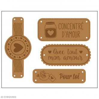 Etiquettes en cuir à coudre - Marron clair - Avec amour - De 4 à 7 cm - 4 pcs