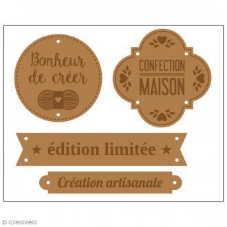 Etiquettes en cuir à coudre - Marron clair - Fait maison - De 4 à 7 cm - 4 pcs