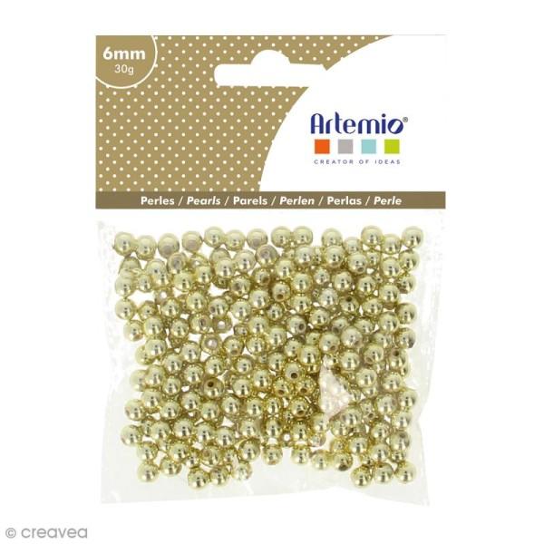 Perles de décoration - Doré - 6 mm - 30 g - Photo n°1