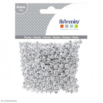 Perles de décoration - Argenté - 6 mm - 30 g
