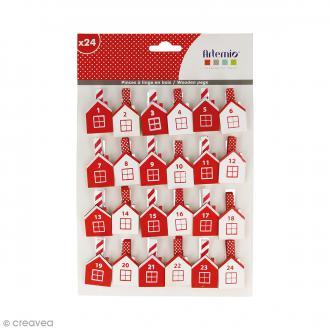 Pince à linge Calendrier de l'Avent - Maisonnette - 4 x 2,5 cm - 24 pcs