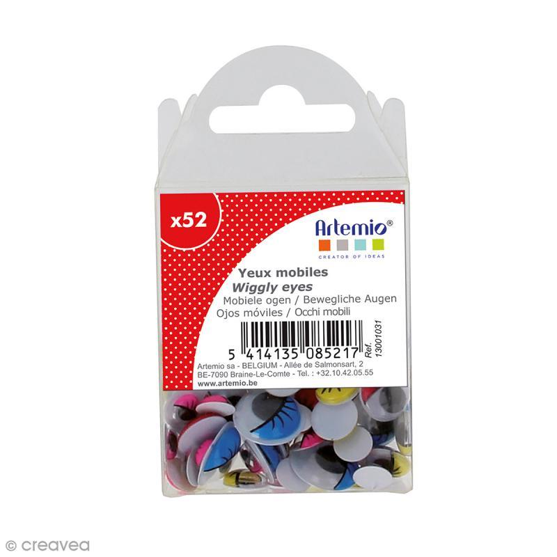 Yeux mobiles - Avec cils - Coloré - Tailles assorties - 52 pcs - Photo n°1