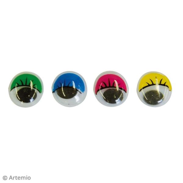 Yeux mobiles - Avec cils - Coloré - Tailles assorties - 52 pcs - Photo n°2