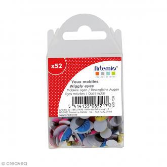 Yeux mobiles - Avec cils - Coloré - Tailles assorties - 52 pcs