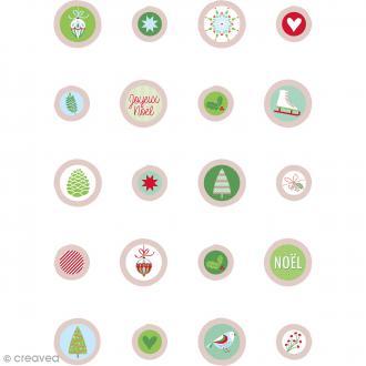 Boutons bois et epoxy à coller - Noël Classique - 20 pcs